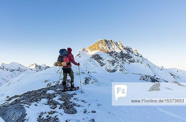 Schneeschuhwanderer mit Rucksack  Zeltausrüstung auf dem Mädelejoch im Schnee  nahe Kemptner Hütte  Allgäuer Alpen  Tirol  Österreich  Europa