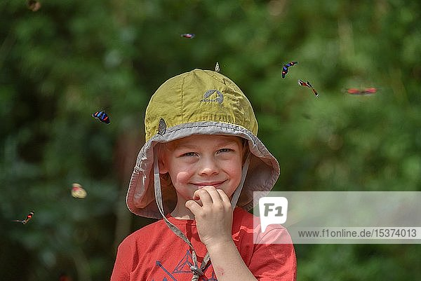 Small boy surrounded by flying colorful butterflies  Iguazu Falls  Puerto Iguazu  Argentina  South America