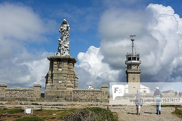 Notre Dame des Naufrages statue and the semaphore in Pointe du Raz  Finistere department  Bretagne  France  Europe