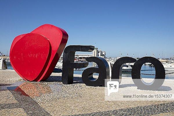 Schriftzug I love Faro  Hafen  Faro  Algarve  Portugal  Europa