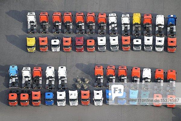 LKW's auf einem Parkplatz  Hamburg  Deutschland  Europa