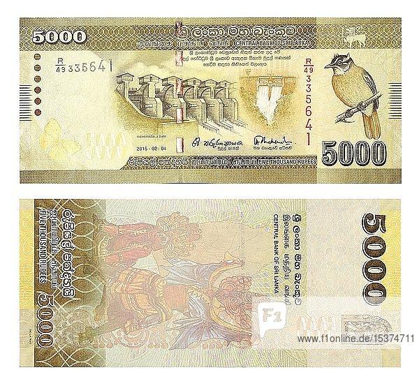 Banknoten 5000 Sri Lankische Rupien  Vorder- und Rückseite  Sri Lanka  Asien
