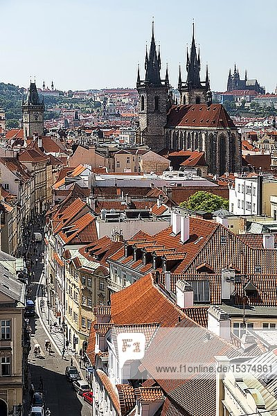 View from the Powder Tower of the Old Town with Tyn Church  Prague Castle at the back  Prague  Bohemia  Czech Republic  Europe
