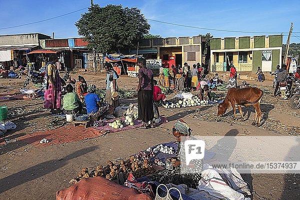Markt mit Gemüse in Jinka  Unteres Omo-Tal  Omo-Region  Süd-Äthiopien  Äthiopien  Afrika