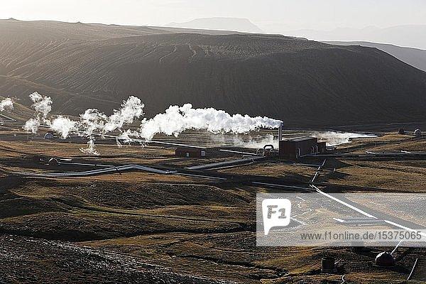 Geothermal power plant Krafla  Hverarönd geothermal area  also Hverir or Namaskard  Northern Iceland  Iceland  Europe