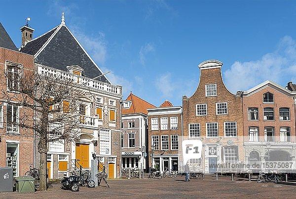Historische Häuser am Grote Markt  Marktplatz in der Altstadt  Haarlem  Provinz Nordholland  Holland  Niederlande  Europa