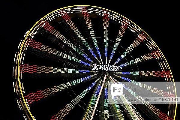 Riesenrad,  Nachtaufnahme,  Schützenfest in Biberach a. d. Riss,  Oberschwaben,  Baden-Württemberg,  Deutschland,  Europa