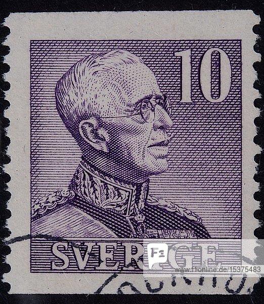 König Gustaf V.  1858-1950  König von Schweden  Porträt auf einer schwedischen Briefmarke  Schweden  Europa
