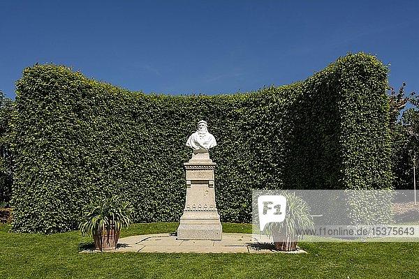 Leonardo-da-Vinci-Denkmal im Garten des Chateau d'Amboise  Loiretal  Departement Indre-et-Loire  Centre-Val de Loire  Frankreich  Europa