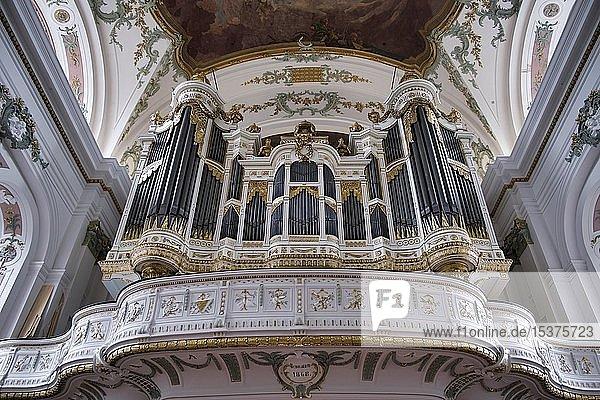Orgelempore  Klassizistische Schleifladen-Orgel auf der Empore  Sankt Ignaz Kirche  Mainz  Rheinland-Pfalz  Deutschland  Europa