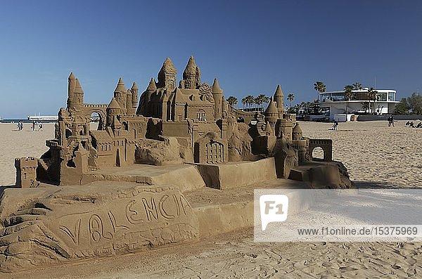 Large sandcastle on the beach of Cabanyal  Valencia  Spain  Europe