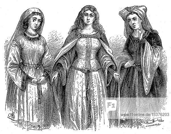 Deutsche Frauenkleidung  mittelalterliche Minnezeit und byzantinische Kostüme  historische Illustration  1880  Deutschland  Europa