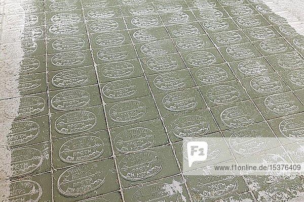 Geschnittene Stücke Olivenseife  historische Seifenmanufaktur Patounis  Korfu-Stadt  Insel Korfu  Ionische Inseln  Griechenland  Europa