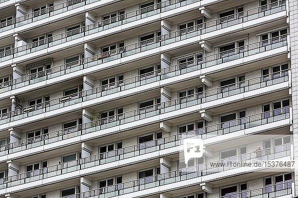 High-rise residential building on Leipzigerstraße  dreary facade  Berlin  Germany  Europe