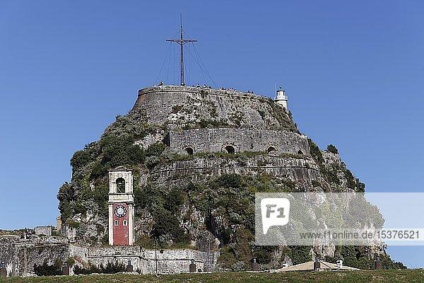Alte venezianische Festung  Uhrturm und Gipfel  Korfu-Stadt  Insel Korfu  Ionische Inseln  Griechenland  Europa