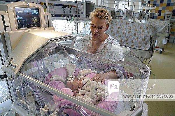 Mutter von Zwillingen bei einem ihrer Neugeborenen in einem Inkubator  Intensivstation für Neugeborene  Karlsbad  Tschechien  Europa