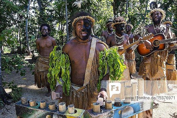 Gruppe von traditionell gekleideten Männern musiziert  Ekasup Kulturdorf  Efate  Vanuatu  Ozeanien