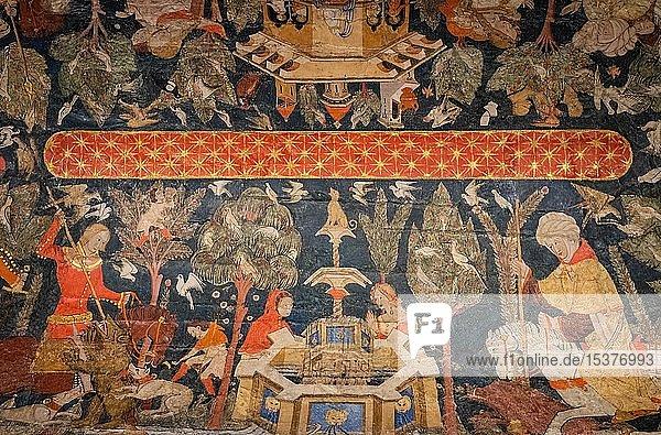 Deckenmalerei  Sala de los Reyes  Saal der Könige  Nasridenpaläste  Alhambra  Granada  Andalusien  Spanien  Europa