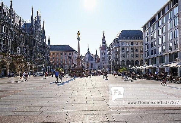 Marienplatz mit Mariensäule und Altem Rathaus  links Neues Rathaus  München  Oberbayern  Bayern  Deutschland  Europa