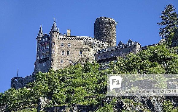 Burg Katz in St. Goarshausen  Rhein-Lahn-Kreis  Oberes Mittelrheintal  Rheinland-Pfalz  Deutschland  Europa