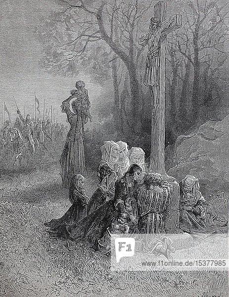 Gebete für die Kreuzritter vor der Abreise  Erster Kreuzzug  historische Illustration  1880  Deutschland  Europa