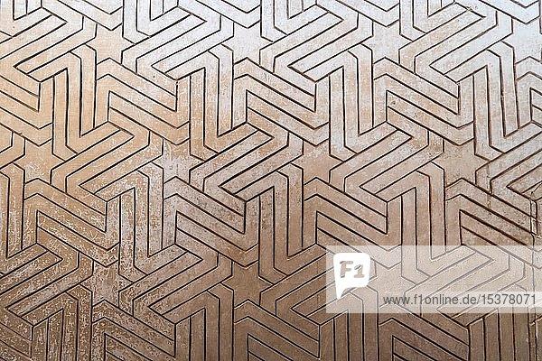 Geometrische maurische Gipsverzierungen  Nasridenpaläste  Alhambra  Granada  Andalusien  Spanien  Europa