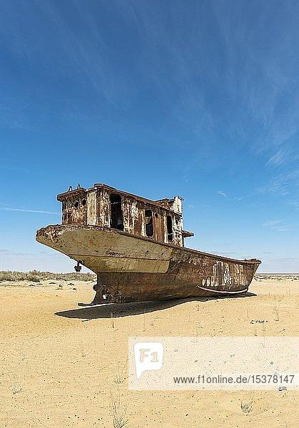 Schiffswrack am Moynak-Schiffsfriedhof  Moynaq  Usbekistan  Asien