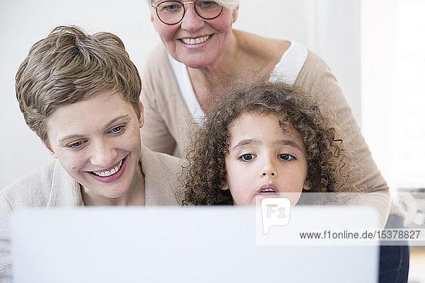 Lächelnde Großmutter  Mutter und Sohn mit Laptop zu Hause