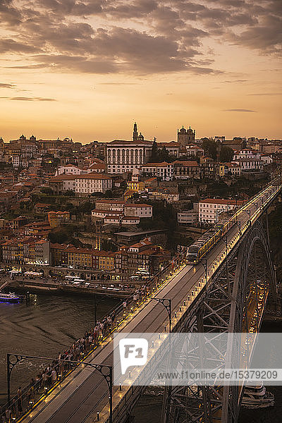 Panoramic view of Porto with Ponte Dom Luis Iat sunset  Portugal