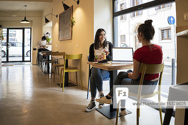 Two young women with laptop in a cafe