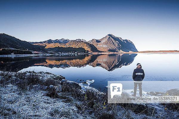Norwegen  Lofoten  Rückenansicht eines Mannes  der im Winter am Wasser steht und auf die Aussicht schaut