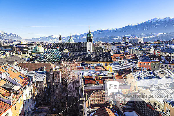 Austria  Tyrol  Innsbruck  Panoramic views of the city with snow-capped Alps in background