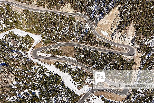 Schweiz  Val Muestair  Fuorn Pass  Luftaufnahme