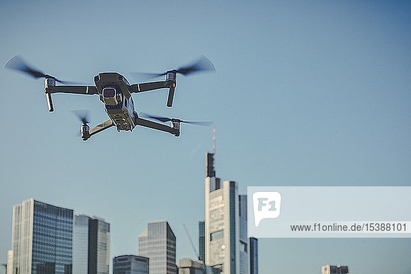 Germany  Frankfurt  drone in front of financial district