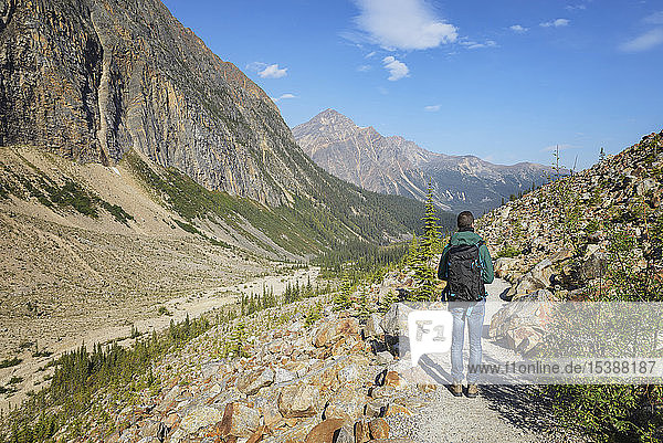 Canada  Jasper National Park  Hiker at Mount Edith Cavell