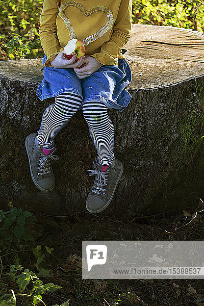 Low section of girl with an apple sitting on a tree stump