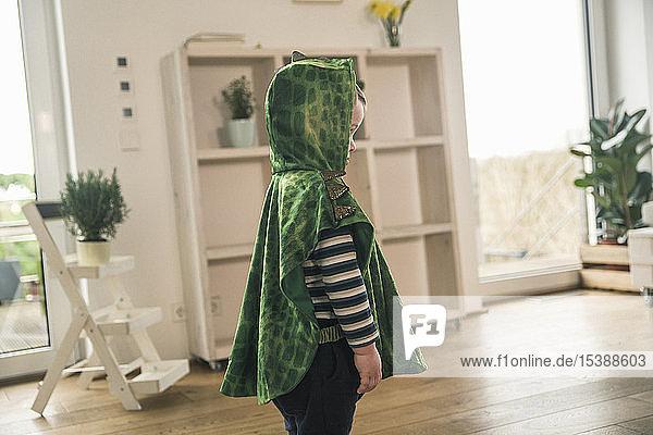 Boy in a crocodile costume at home