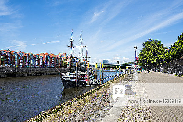 Germany  Bremen  Admiral Nelson sailing boat  restaurant ship on the Weser river