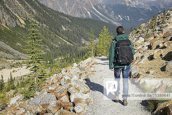 Canada  Jasper National Park  Hiker at Mount Edith Cavell
