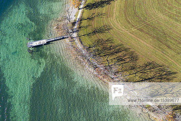 Deutschland  Bayern  Kaltenbrunn  Tegernsee  Schatten der Bäume am Seeufer und am Steg  Luftaufnahme