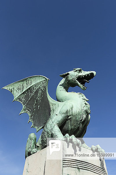 Slovenia  Ljubljana  bronze dragon sculpture of Zmajski most