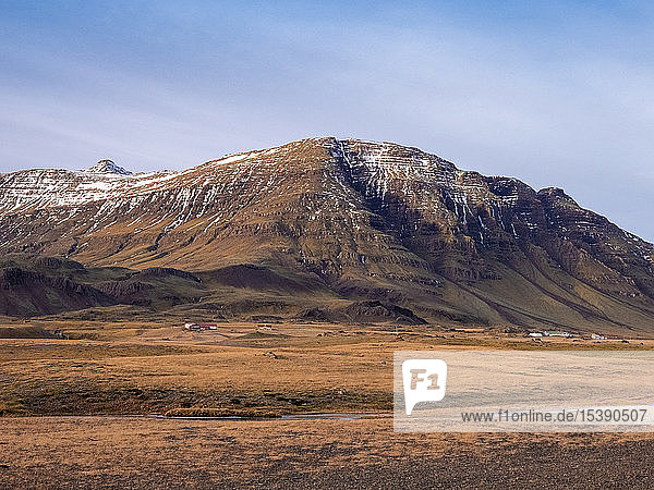 Iceland  Austurland  landscape with mountain on the way to Egilsstadir