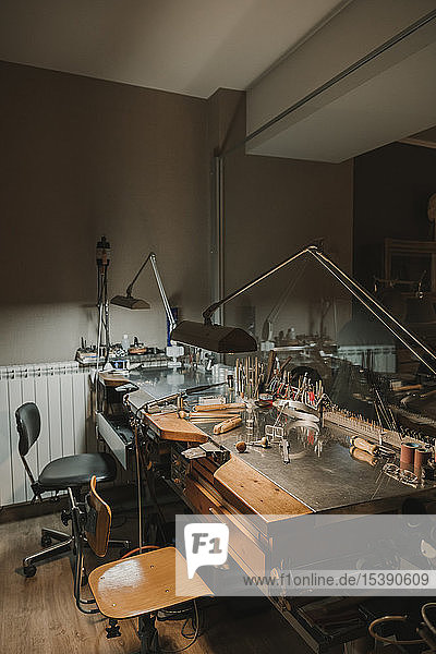 Interior of a jewellery making workshop