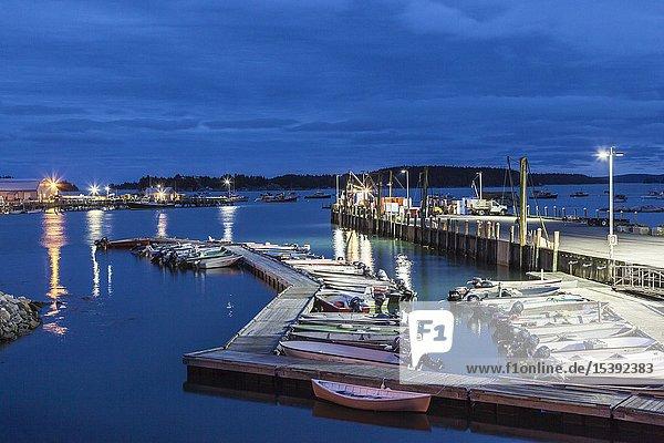 USA  Maine  Stonington  Stonington Harbor  dusk.
