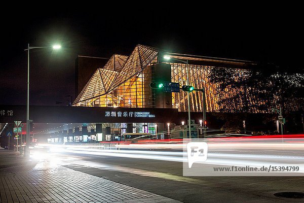 Shenzhen city  guangdong province building at night