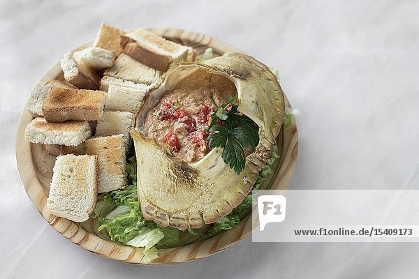 Portuguese crab meat mayonnaise mousse seafood traditional tapas in lisbon restaurant.