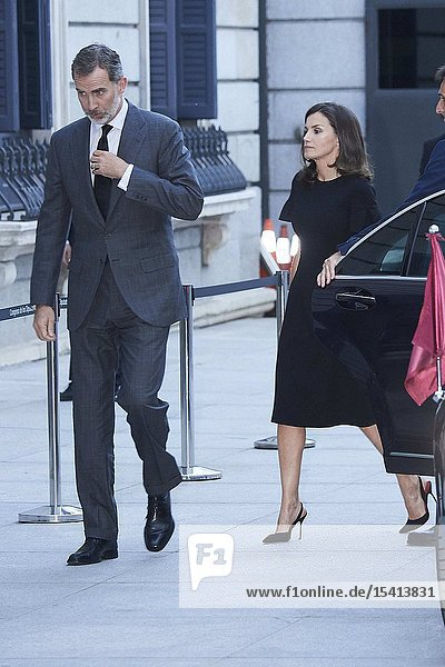 King Felipe VI of Spain  Queen Letizia of Spain attends Alfredo Perez Rubalcaba Funeral Chapel In Madrid at Congreso de los Diputados on May 10  2019 in Madrid  Spain