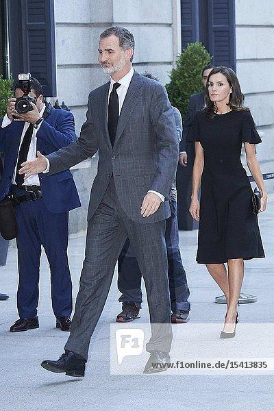 King Felipe VI of Spain  Queen Letizia of Spain attends Alfredo Perez Rubalcaba Funeral Chapel In Madrid at Congreso de los Diputados on May 10  2019 in Madrid  Spain