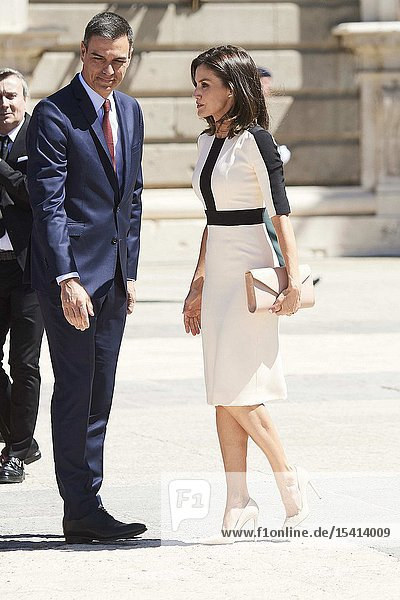 Queen Letizia of Spain  Pedro Sanchez  Prime Minister attends 175th anniversary of the founding of the Guardia Civil at Royal Palace on May 13  2019 in Madrid  Spain