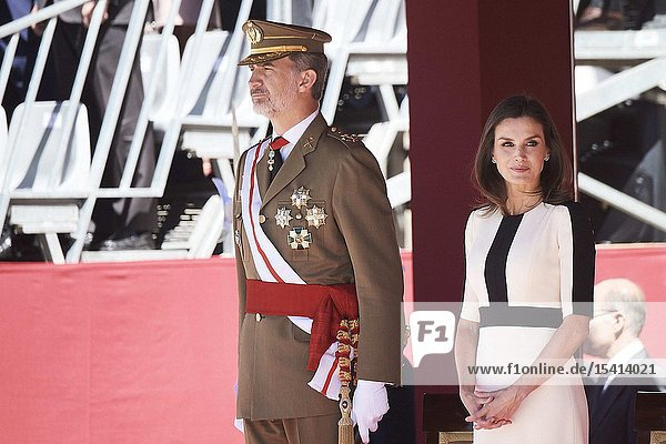 King Felipe VI of Spain  Queen Letizia of Spain attends 175th anniversary of the founding of the Guardia Civil at Royal Palace on May 13  2019 in Madrid  Spain